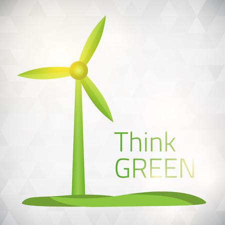 Ecología Piense viento verde ilustración vectorial de alimentación aislada de capas