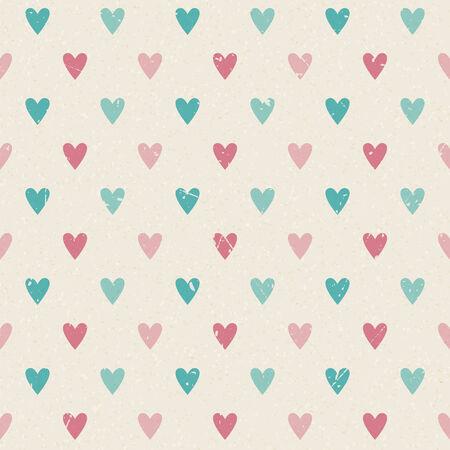 Valentine retro naadloze harten vector patroon op papier