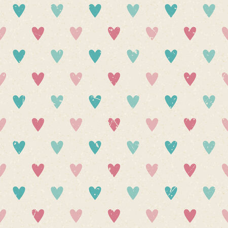 Valentine retro seamless hearts vector pattern on paper