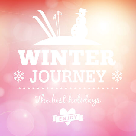 Winter journey holidays typography poster vector card  Vector