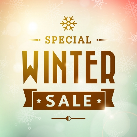 Winter special sale vintage vector typography poster  layered  Vectores