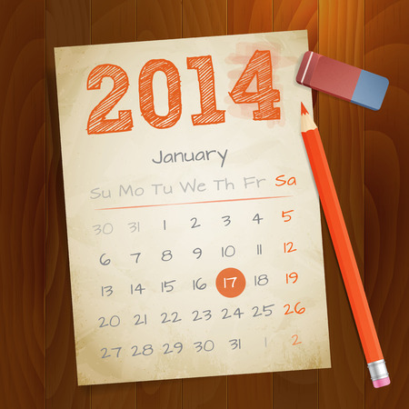 Calendar January 2014 vintage paper note on wood background vector illustration  Isolated  layered