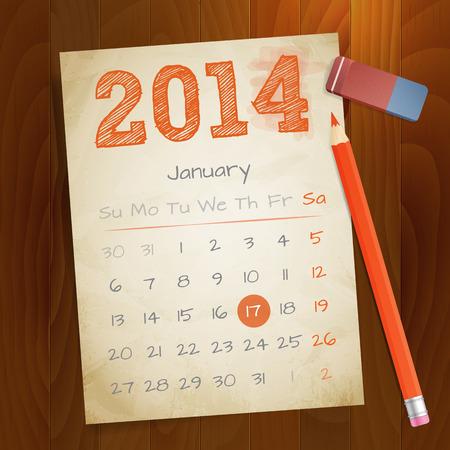 Kalender januari 2014 vintage papier notitie op houten achtergrond vector illustratie Geïsoleerde gelaagde
