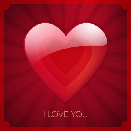 i love you heart poster vector card design  isolated from background   Vector
