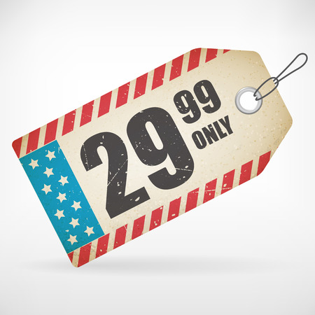 hang tag: American Realistic paper price vector tag  isolated from background  layered  Illustration