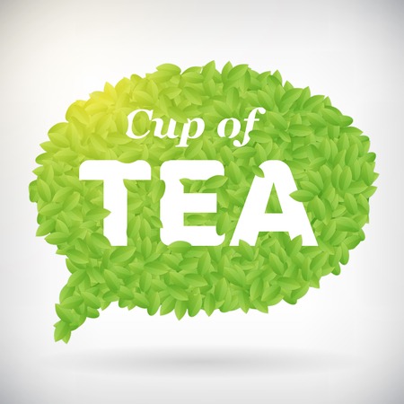 Cup of tea green leaf speech bubble vector poster, isolated from background  Vector
