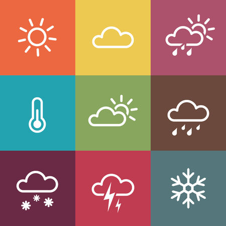 Weather Vector Icons on vintage colorful tiles background  Isoladted from background  Each icon in separately folder  Vector