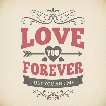 forever: Wedding typography love you forever vintage card background poster vector design   Illustration