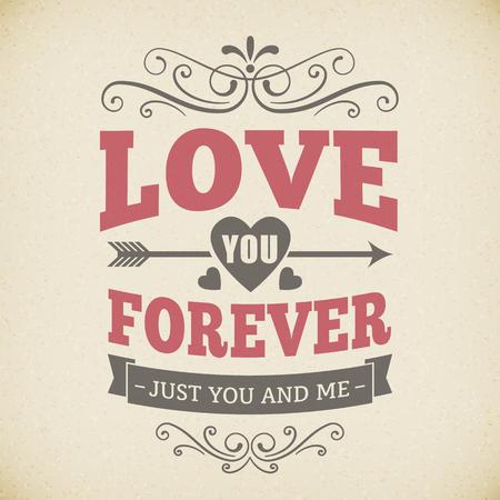 forever: Wedding typography love you forever vintage card background Illustration