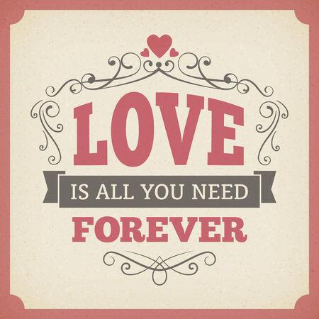 forever: Wedding love forever typography vintage card background  Illustration