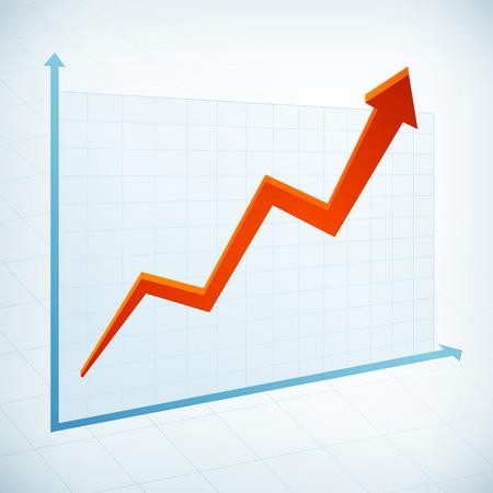 Positieve business grafiek breedte rode pijl vector icon