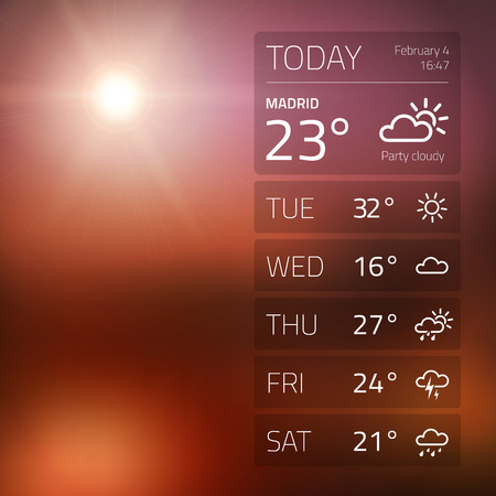 Weather widget template on sunset  Vector