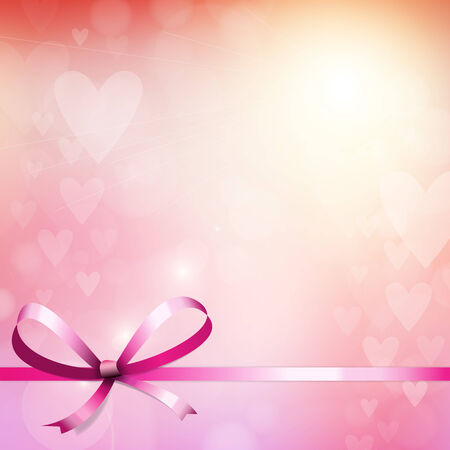 Heart blur bokeh lights background with ribbon Vector