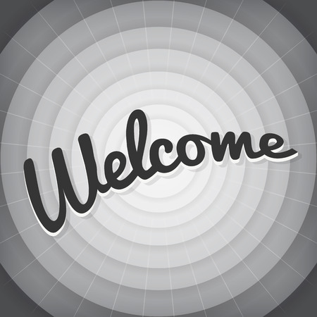 Welcome typography BW old movie screen 向量圖像