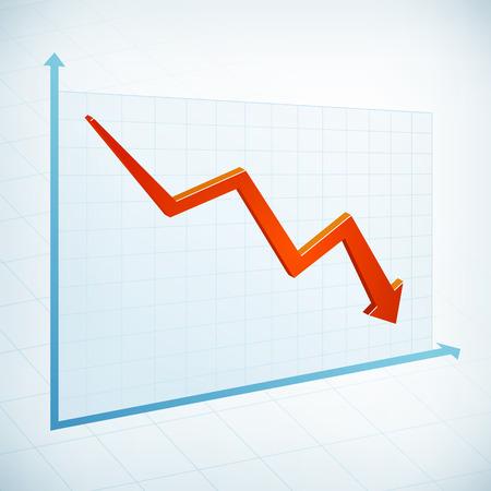 Negatieve zakelijke grafiek breedte rode pijl Stock Illustratie