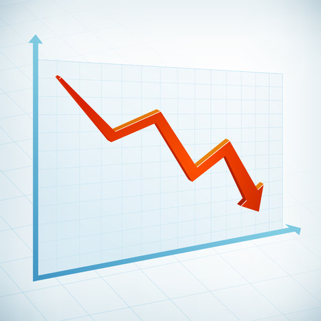 Negative business graph width red arrow