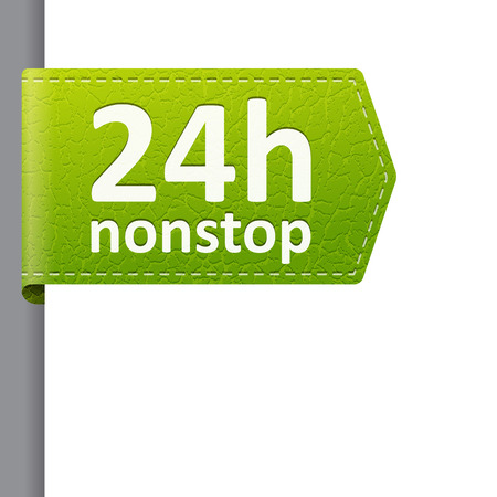 24 hour: green leather 24 hour nonstop open bookmark label.