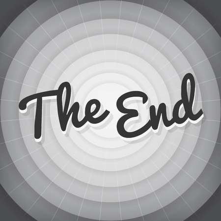 bw: The end typography BW old movie screen  Illustration