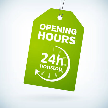 shop opening hours: Green paper 24h nonstop opening hours tag.