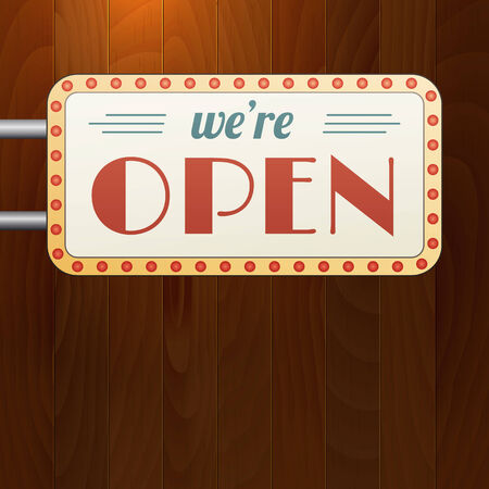 closed sign: We are open vintage background sign on wood background.