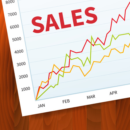 Positive business sales graph on wood  Vector
