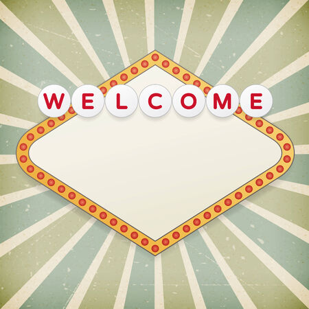 welcome home: Retro background with promotional message on old paper.  Illustration