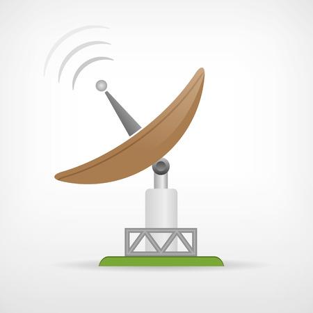 Isolé communication par satellite antenne parabolique vecteur icône