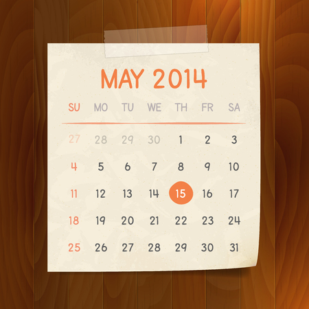 Calendar May 2014 vintage paper note with tape on wood background  Vector