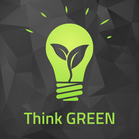 Think green eco bulb on dark origami background  Vector