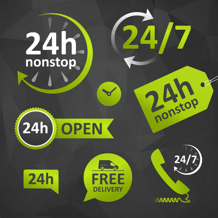 24 hours: call us, open hours, free delivery - twenty four hours icon. customer support on dar backgournd. isolated.