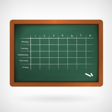 timetable: school timetable on chalkboard vector illustration isolated from background.
