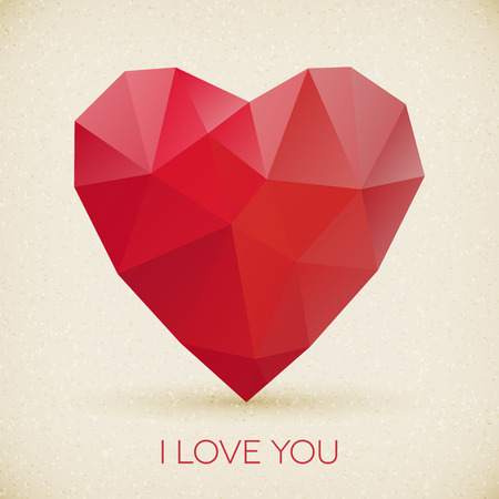 Valentines Day retro ruby heart vector card design. layered.   Vector