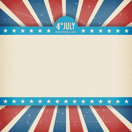 Vintage onafhankelijkheid 4 juli amerikaanse dag poster Vector illustratie Gelaagde