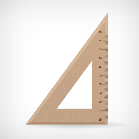 inches: Vector wooden ruler illustration isolated from background Illustration