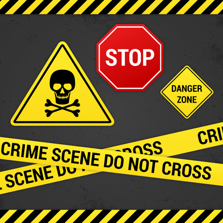 scull: warning signs on rusty background  isolated  layred  Illustration