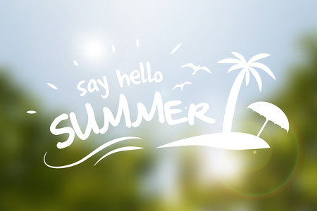 say hello: Say hello summer text typography poster isolated from background  Illustration