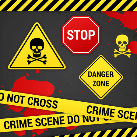 vector warning danger crime signs on rusty background  Vector