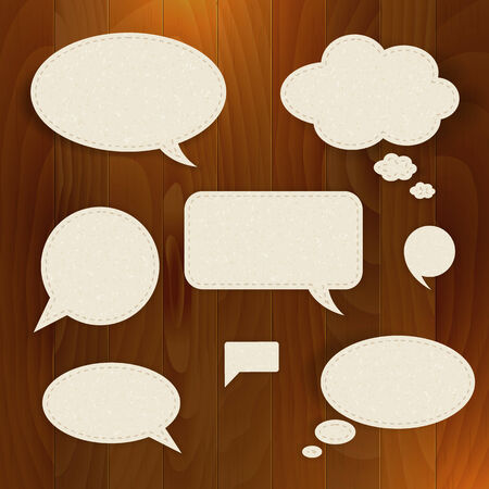 bubble sheet: Vector set speech paper bubble on wood background  Isolated