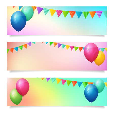 set of birthday summer blurred banner background  isolated  layered  Vector