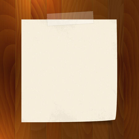 blank note: blank note paper with tape  on wood background  isolated