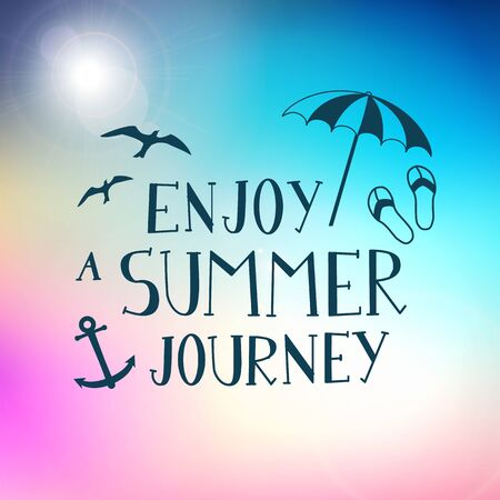 Summer journey hand drawn typography poster background  isolated  layered