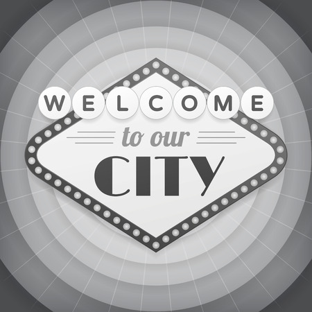 Welcome to our city vintage vector bw poster. isolated from background. Illustration