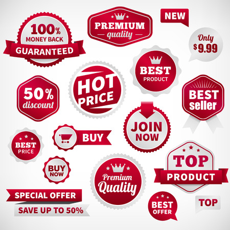 join here: vector price offer banner labels set. Isolated from background. layered.