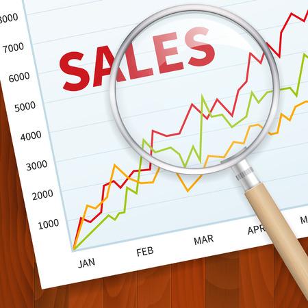 Positieve business sales grafiek op hout vector achtergrond met overdrijft glas. gelaagde.