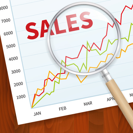 Positive business sales chart on wood vector background with magnify glass. layered.