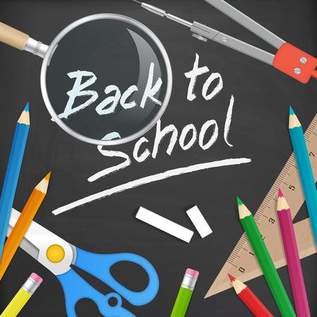 pencil sharpener: back to school handwritten on blackboard. isolated. layered. Illustration