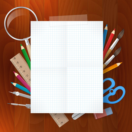 blank paper with school supplies tools on wood background. isolated from background. layered. Vector