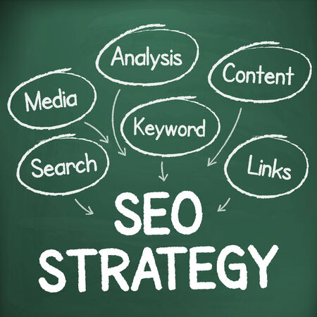 Search engine optimization strategy plan process handwritten illustration on chalkboard. isolated from background. Vector