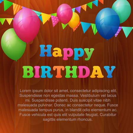 happy birthday greeting card with balloons and flags on wood background. isolated from background. layered