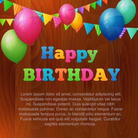 birthday greetings: tarjeta de felicitaci�n de cumplea�os con globos y banderas en el fondo de madera. aislada de fondo. capas